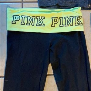 PINK VS Neon Yellow FoldOver Skinny Yoga Pant XS